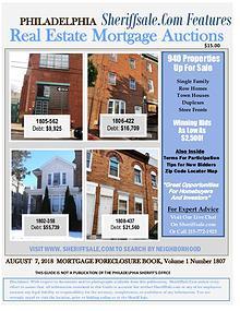 Philadelphia's August 2018 foreclosure Listing