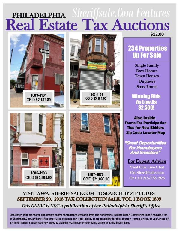September 20 Philadelphia Tax Auction Color Photo Guide SEPTEMBER 20,  2018 TAX COLLECTION SALE, VOL 1 BOO
