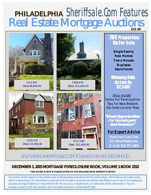 December 1, 2015 Philadelphia Mortgage Foreclosure Sale