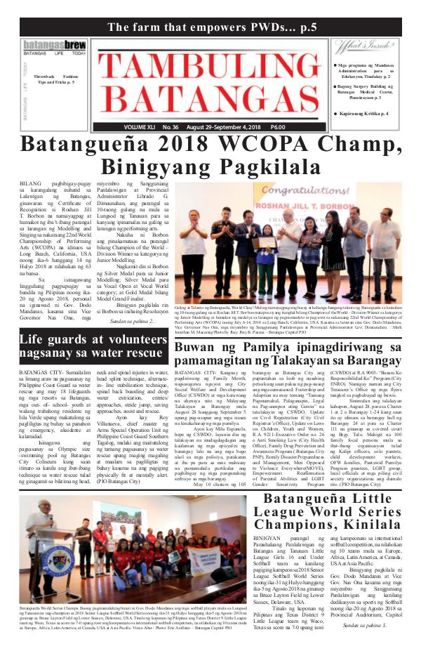 Tambuling Batangas Publication August 29-September 04, 2018 Issue