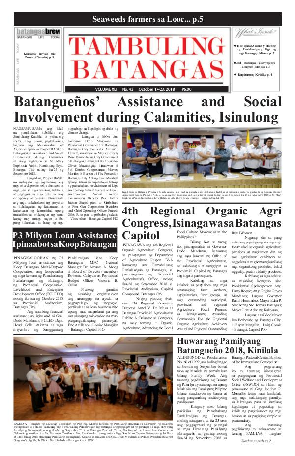 Tambuling Batangas Publication October 17-23, 2018 Issue
