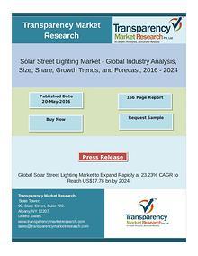Solar Street Lighting Market Trends 2016 - 2024
