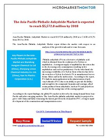 The Asia-Pacific Phthalic Anhydride Market is expected to reach $5,57