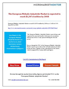 The European Phthalic Anhydride Market is expected to reach $1,347.6