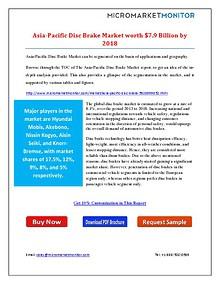 Asia-Pacific Disc Brake Market Worth $7.9 Billion by 2018