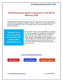 Global Drum Brake Market is Expected to Reach $15.01 Billion by 2018