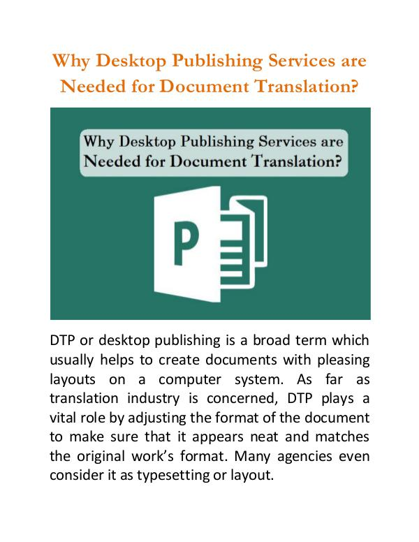 Why Desktop Publishing Services are Needed for Document Translation? Why Desktop Publishing Services are Needed?