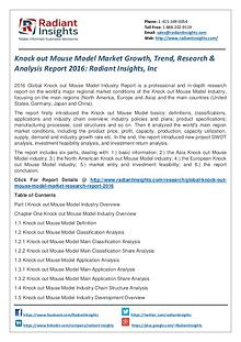 Knock Out Mouse Model Market Growth, Trend, Research 2016