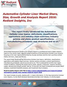 Automotive Cylinder Liner Market Share, Size, Growth 2016