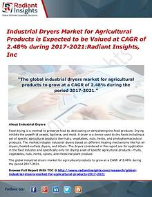 Industrial Dryers Market for Agricultural Products is Expected to Be