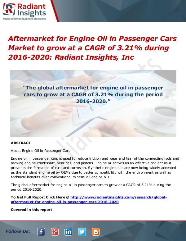Aftermarket for Engine Oil in Passenger Cars Market to Grow at a Aftermarket for Engine Oil in Passenger Cars Marke