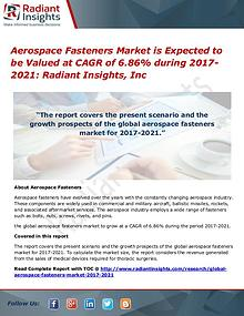 Aerospace Fasteners Market is Expected to Be Valued at CAGR of 6.86%