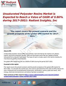 Unsaturated Polyester Resins Market is Expected to Reach a Value of
