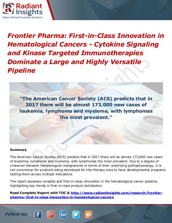 Frontier Pharma First-In-Class Innovation in Hematological Cancers First-in-Class Innovation in Hematological Cancers