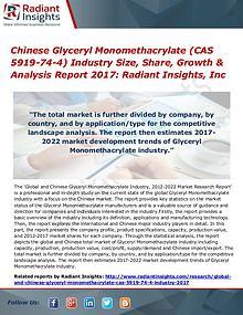 Chinese Glyceryl Monomethacrylate (CAS 5919-74-4) Industry Size 2017