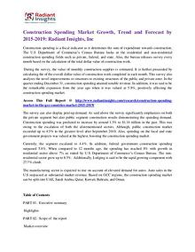 Construction Spending Market Growth, Trend and Forecast by 2015-2019