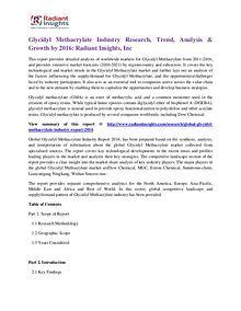 Glycidyl Methacrylate Industry Research, Trend, Analysis & Growth2016