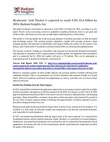 Hyaluronic Acid Market is Expected to Reach USD 13.4 Billion by 2024