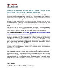 Data Base Management Systems (DBMS) Market Trend, Research 2020