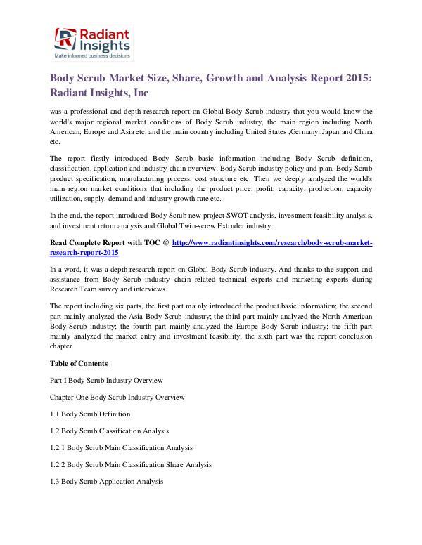 Body Scrub Market Size, Share, Growth and Analysis Report 2015 Body Scrub Market 2015