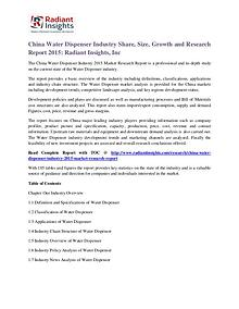 China Water Dispenser Industry Share, Size, Growth 2015