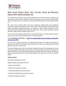 Body Scrub Market Share, Size, Growth, Trend and Research Report 2015