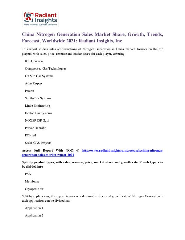 China Nitrogen Generation Sales Market Share, Growth, Trends 2021 China Nitrogen Generation Sales Market 2021