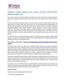 Synthetic Leather Industry Size, Share, Growth, Trends 2015