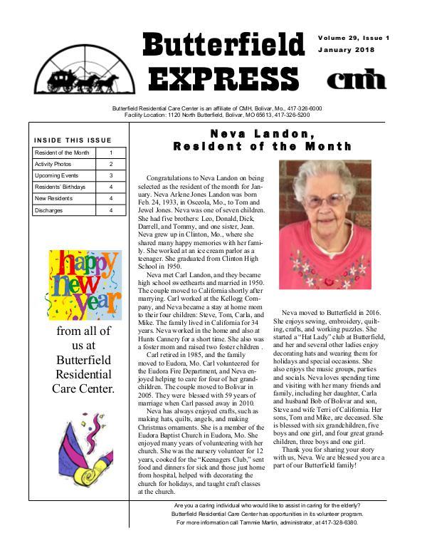 Butterfield Residential Care Center's Butterfield Express January 2018