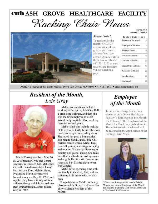 Ash Grove Healthcare Facility's Rocking Chair News March 2018