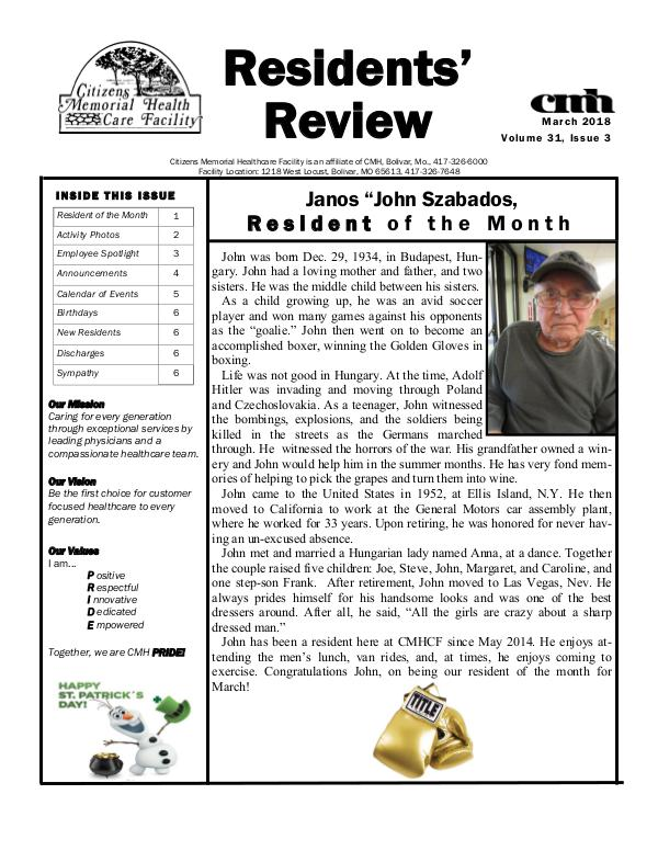 CMHCF Residents' Review March 2018