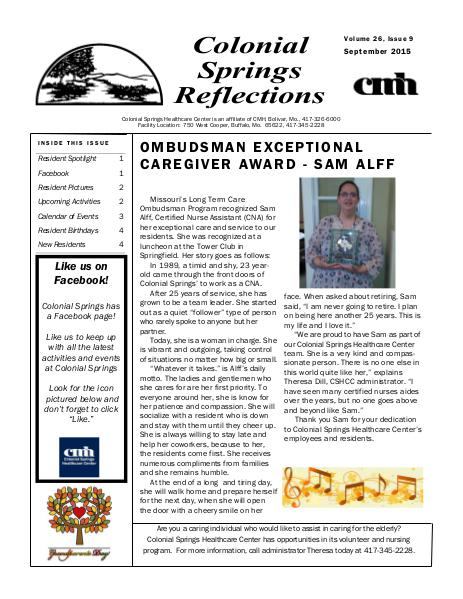 Colonial Springs Reflections September 2015