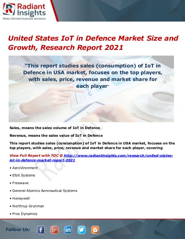 Electronics Research Reports by Radiant Insights United States IoT in Defence Market