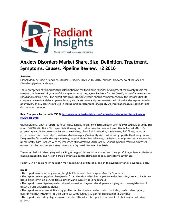Pharmaceuticals and Healthcare Reports Anxiety Disorders Market