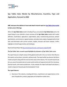 Spa Tables Market Manufacturers, Region, Application  and Forecast