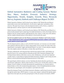 Automotive Radiators and Cooling Systems Market Trends To 2021