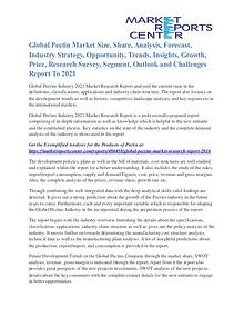 Pectins Market Overview, Competitive Analysis and Development 2021