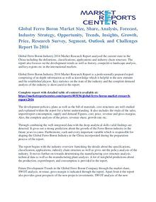 Ferro Boron Market Key Vendors, Trends and Forecasts to 2016