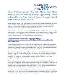 Cellulose Acetate Fiber Sales Market Size To 2016