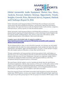 Automobile Audio Equipment Market Value and Segmentation Trends 2016