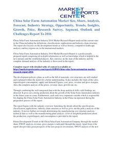 China Solar Farm Automation Market Segmentation And Trends To 2016
