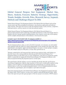 General Purpose Test Equipment Market Analysis And Growth To 2016