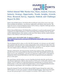 Almond Milk Market Price and Gross Margin Analysis To 2016