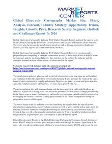 Electronic Cartography Market Cost and Revenue Report To 2016