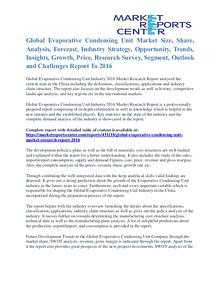 Evaporative Condensing Unit Market Analysis and Forecast To 2016