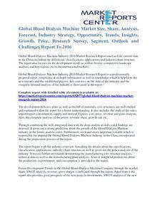 Blood Dialysis Machine Market Price and Gross Margin Analysis To 2016