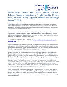 Butter Market Analysis and Forecast to 2016