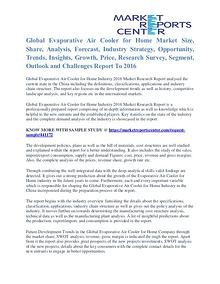 Evaporative Air Cooler for Home Market Segments Report To 2016