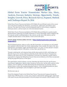 Farm Tractor Transmission Market Key Vendors, Trends & Forecasts 2016