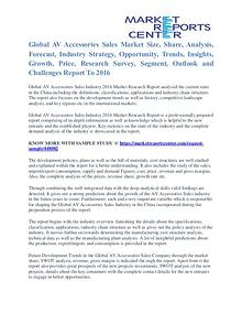 AV Accessories Sales Market Cost and Revenue Report To 2016